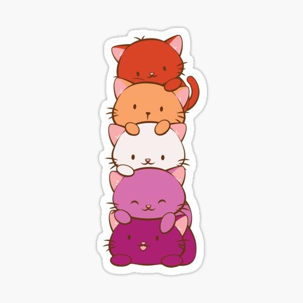 New Orange Lesbian Pride Flag Kawaii Cats Sticker