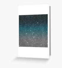Pretty Faux Glitter Gradient in Black, Blue, White Greeting Card