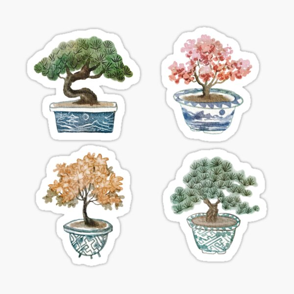Bonsai tree sticker pack design in watercolour optic Sticker