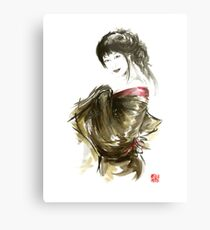 Geisha Gold Kimono Japanese woman black hair jewerly sumi-e original painting art print Metal Print