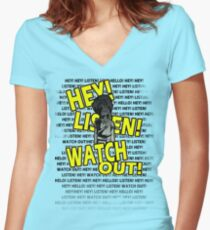 HEY HEY! Women's Fitted V-Neck T-Shirt