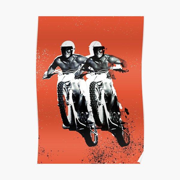 Moto Desert Rider Orange Poster