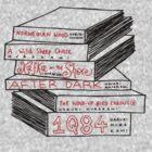 Haruki Murakami Book Stack by Louise Norman