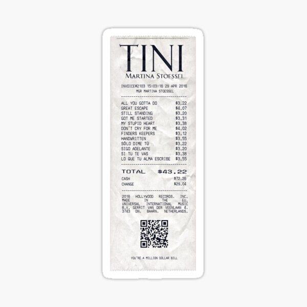 tini debut album receipt Sticker