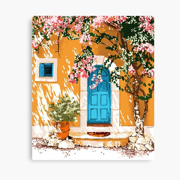 Oh The Places You Will Go, Summer Travel Spain Greece Painting, Architecture Building Bougainvillea Canvas Print