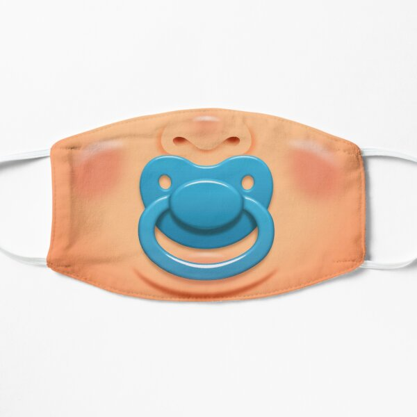 Baby face with blue pacifier/dummy - skin 0 Flat Mask