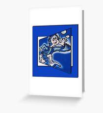 blue boy runnin' (square) Greeting Card
