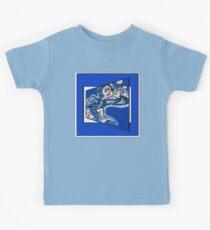 blue boy runnin' (square) Kids Tee