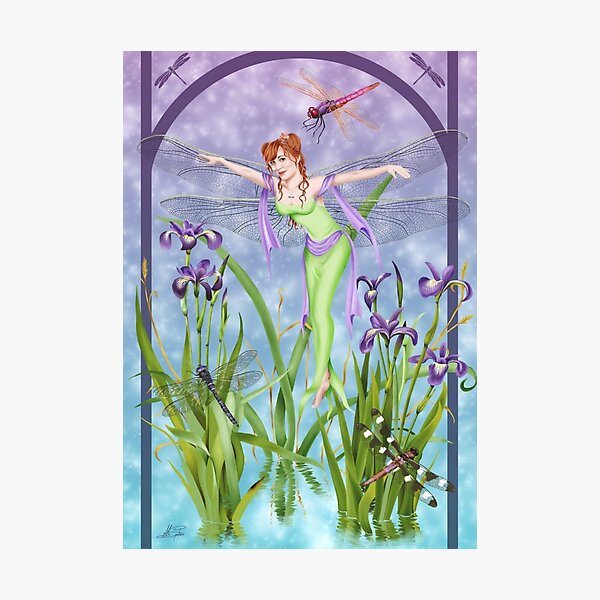 Dragonfly Dancing Fairy Iris Pond Photographic Print