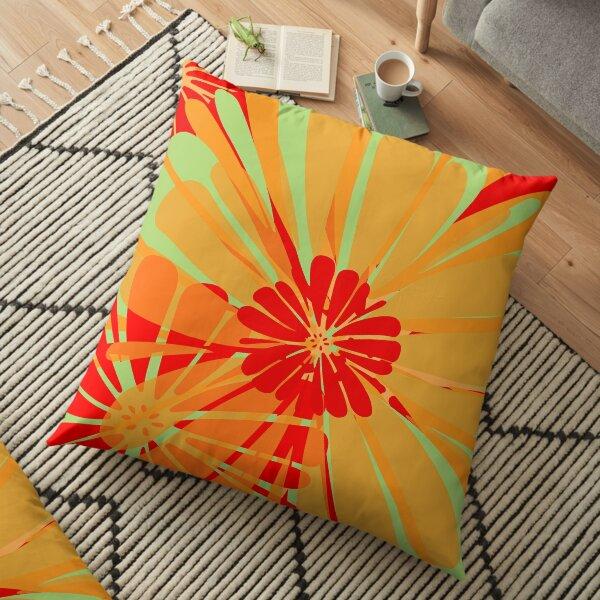 Lime Citrus Floral Floor Pillow