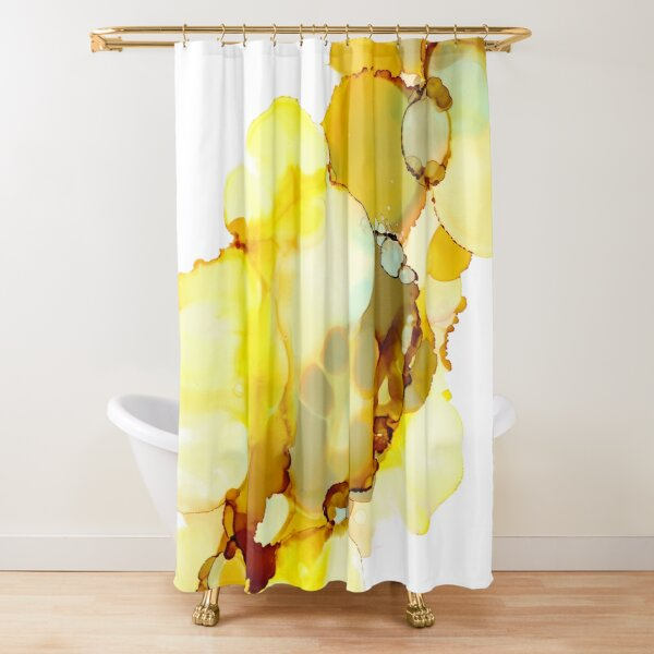 Yellow & Grey Artwork | Alcohol inks Shower Curtain