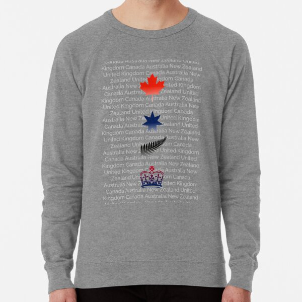 CANZUK: National Symbols With Background Names Lightweight Sweatshirt