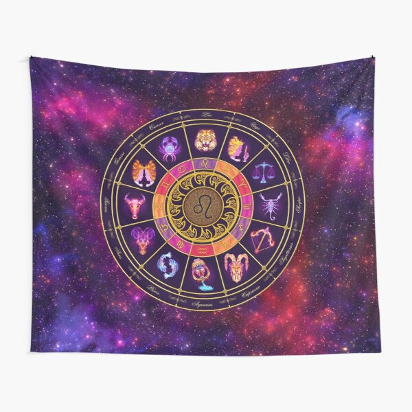 Leo Zodiac Lightburst - Circle Tapestry