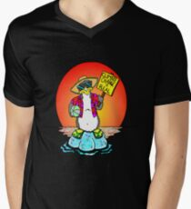Global Warming Penguin Mens V-Neck T-Shirt