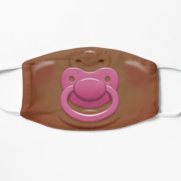 Baby face with pink pacifier/dummy - skin 2 Flat Mask