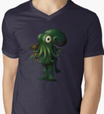 H P Lovecraft Baby Cthulhu with Teddy Men's V-Neck T-Shirt