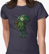 H P Lovecraft Baby Cthulhu with Teddy Women's Fitted T-Shirt
