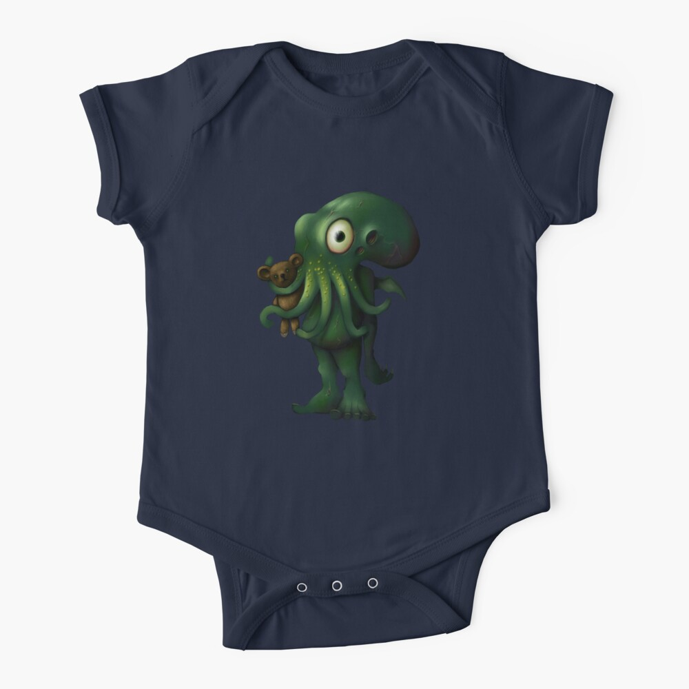 H P Lovecraft Baby Cthulhu with Teddy Baby One-Piece