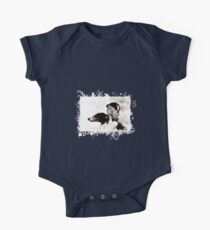 Vintage Design - Lady and Hound - classy! Short Sleeve Baby One-Piece