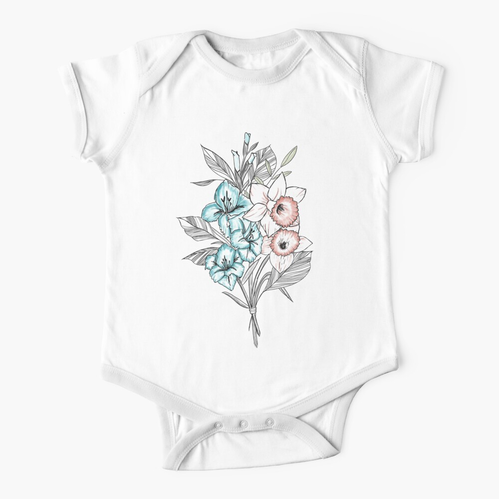 Gladiolus and Daffodils Baby One-Piece