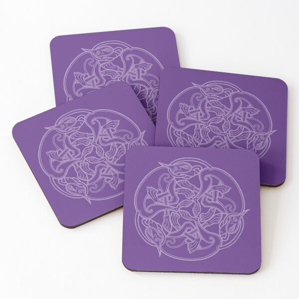 Celtic Chasing Dogs - purple Coasters (Set of 4)