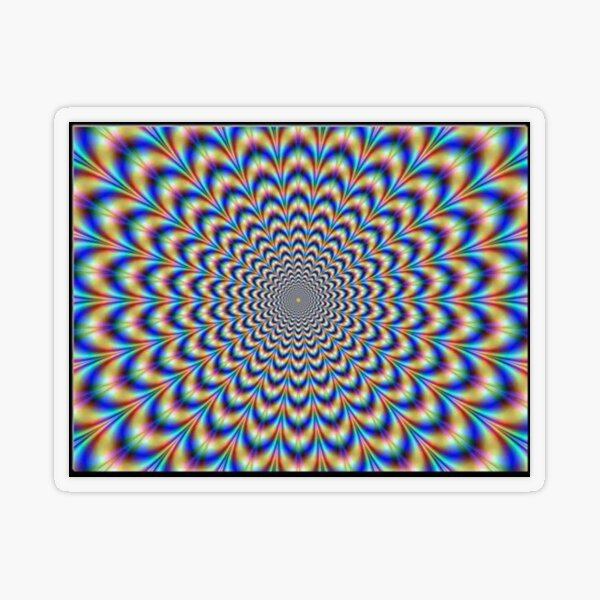 Optical illusion Trip can use color, light and patterns to create images that can be deceptive or misleading to our brains.  Transparent Sticker