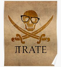 Pirate Humor Math Number Pi Nerd Poster Poster