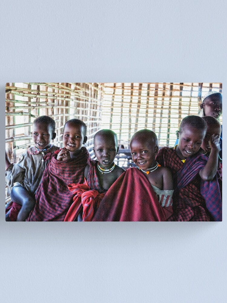 Alternate view of Africa Adventures 4239 Portrait of Young Maasai African Kids Tanzania Canvas Print