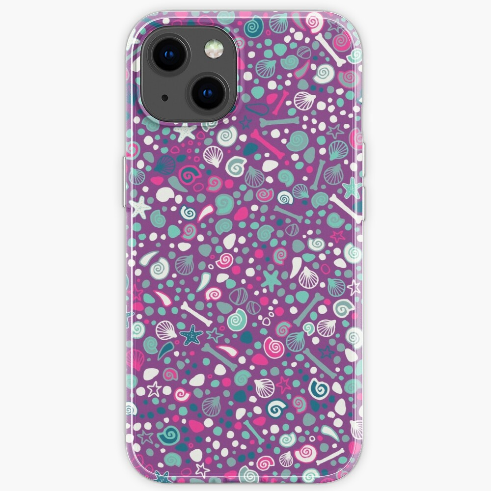 Mini Fossils - turquoise, white and pink on purple - fun pattern by Cecca Designs iPhone Case