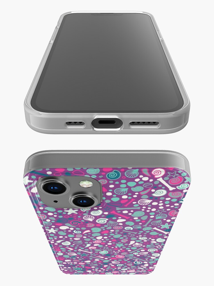 Alternate view of Mini Fossils - turquoise, white and pink on purple - fun pattern by Cecca Designs iPhone Case