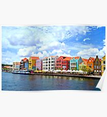 Pastel Colors of the Caribbean Coastline in Curacao Poster