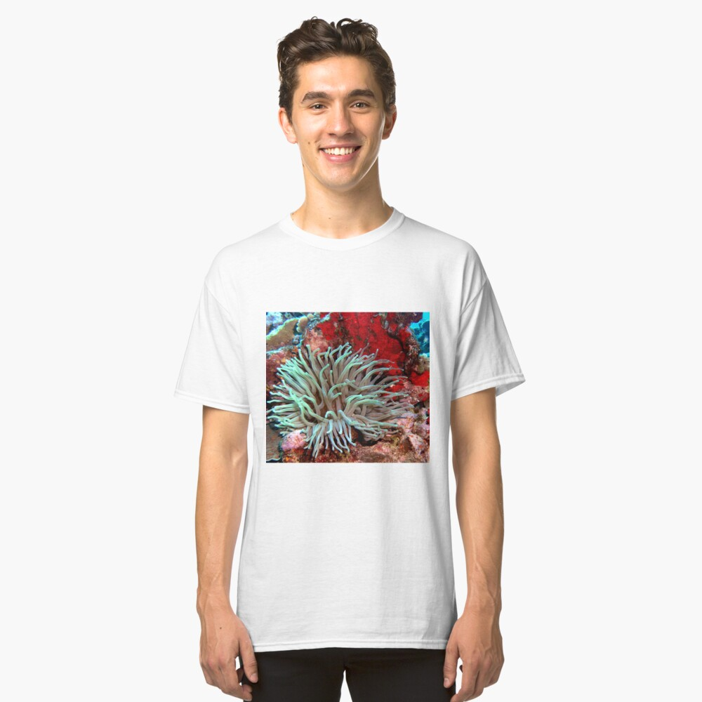 Giant Green Sea Anemone feeding near Red Coral Reef Wall Classic T-Shirt Front