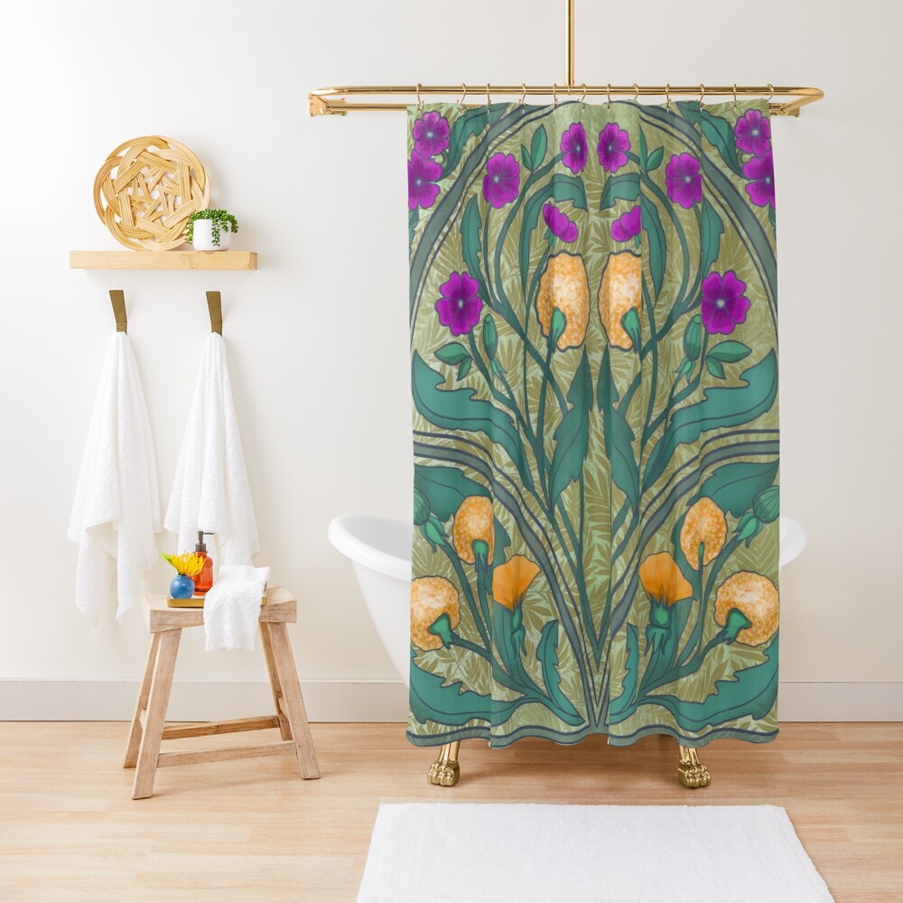Dandelion and Primrose Shower Curtain