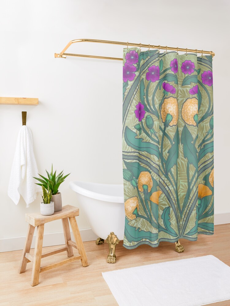 Alternate view of Dandelion and Primrose Shower Curtain