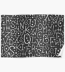 Chalkboard alphabet letters pattern Poster