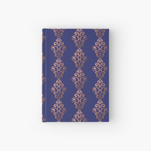 Golden Damask Pattern - Classic Gold and Blue Hardcover Journal