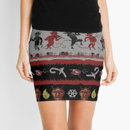 Krampus Christmas Gifts Presents The Krampus The Christmas Devil Having A Partying Krampus Ugly Christmas Sweater Mini Skirt
