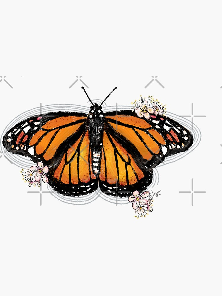 Monarch Butterfly with Blooms by ebozzastudio