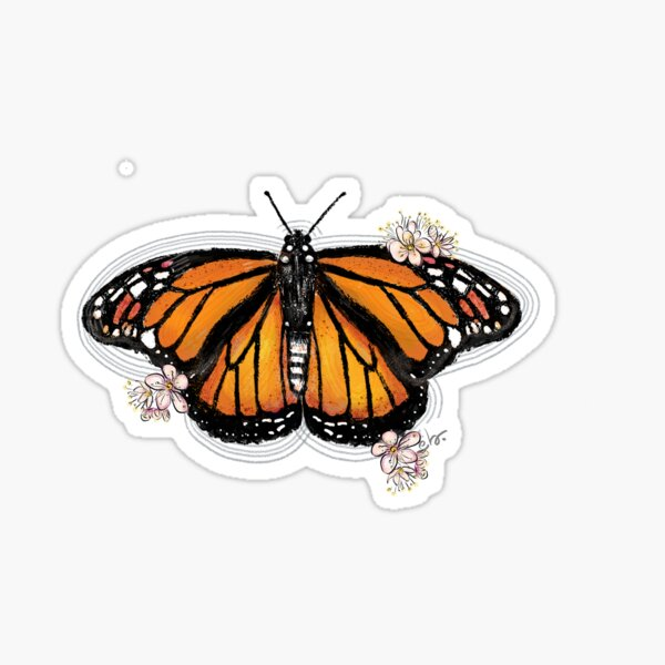 Monarch Butterfly with Blooms Sticker