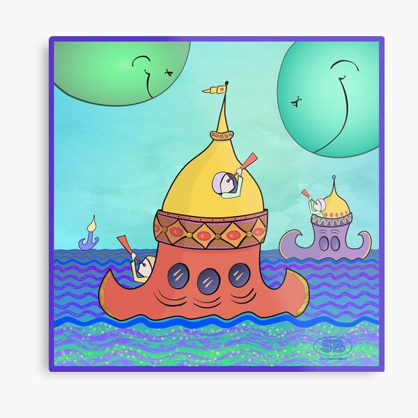 Curious Planets Metal Print