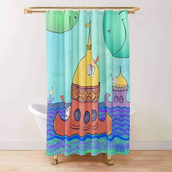 Curious Planets Shower Curtain