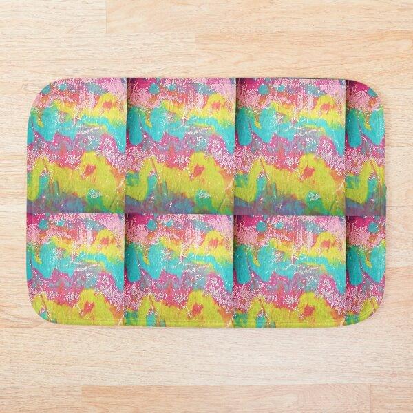 Pink, Blue, Green Abstract Original Art Print Bath Mat