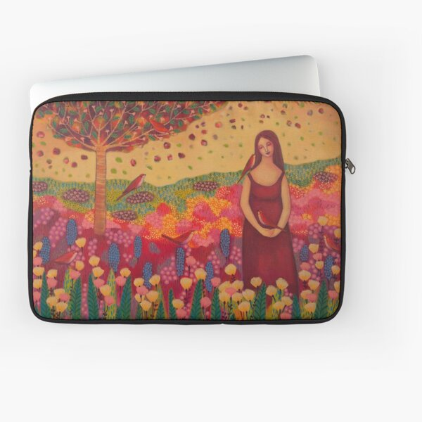 Woman with Birds Laptop Sleeve