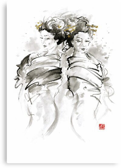 Geisha Japanese women woman in kimono traditional original Japan painting art hair pin style design gold silver  by Mariusz Szmerdt
