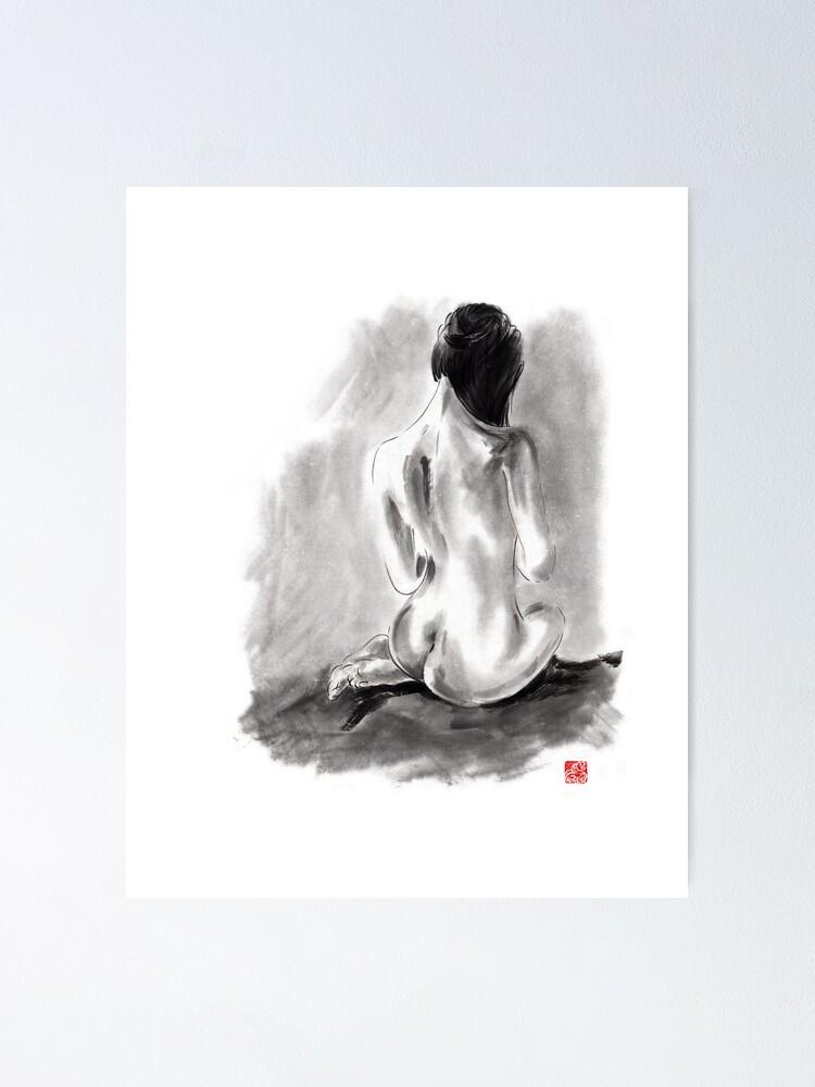 Erotic Canvas Art Cheap Wall Print Home Interior Geisha Back
