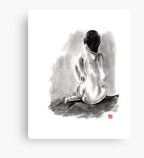 Woman geisha erotic act beautiful girl 女性 Japanese ink painting Canvas Print