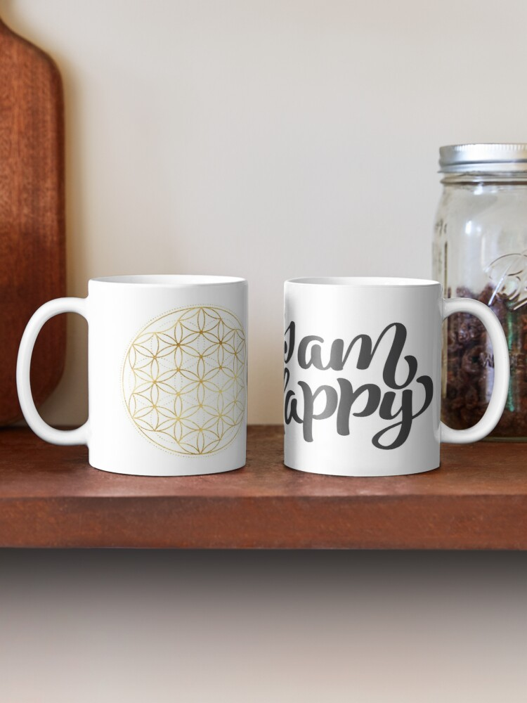 Alternative Ansicht von Ich bin glücklich - Blume des Lebens Tasse