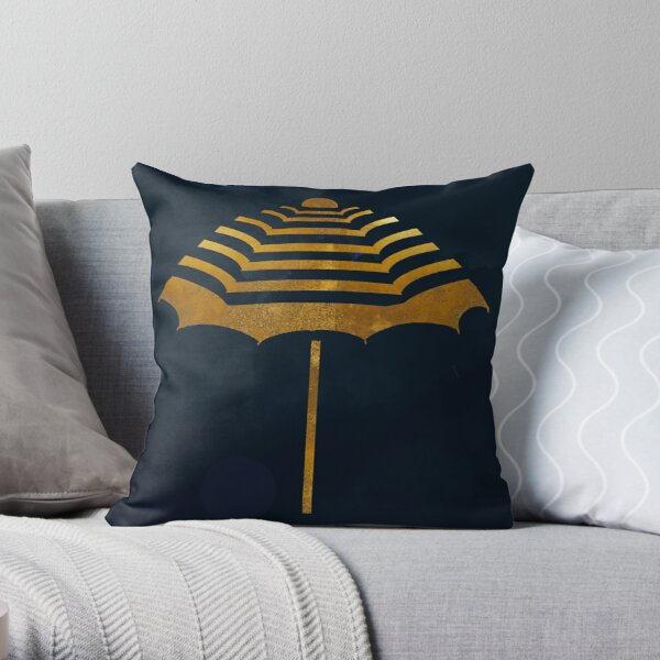 The Golden Umbrella Throw Pillow