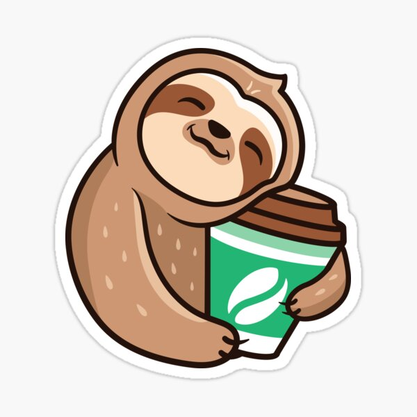 Funny sloth with coffee Sticker