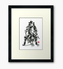 Samurai sword bushido katana armor silver steel plate metal kabuto costume helmet martial arts sumi-e original ink painting artwork Framed Print